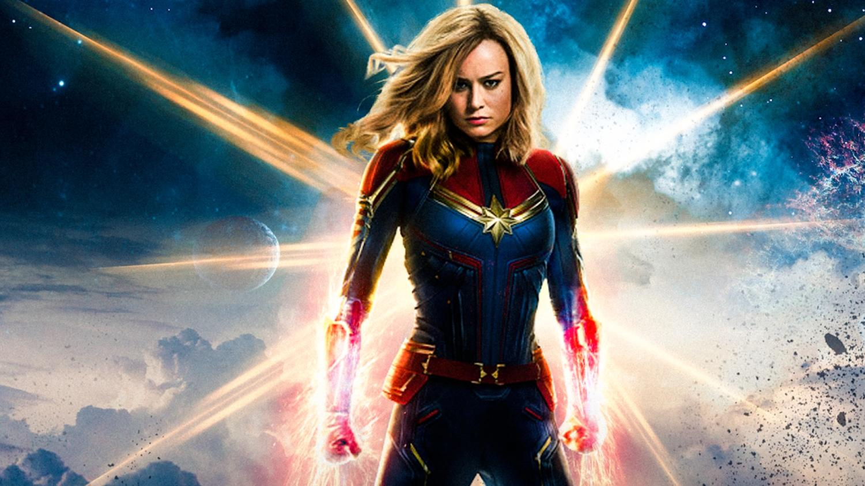 Movie poster for Marvel's new origin film that focuses on the story of Captain Marvel.