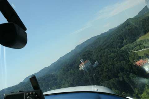 Strafing the castle...