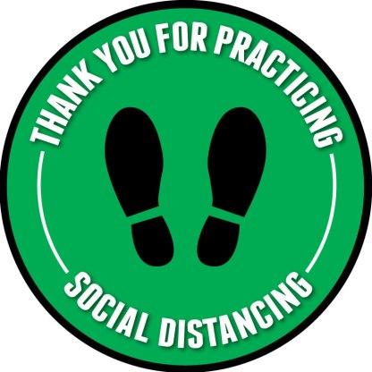 Footprint Social Distancing Floor Decals - Green