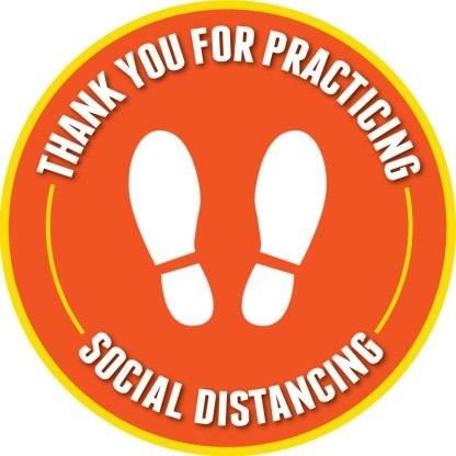 Footprint Social Distancing Floor Decals - Orange