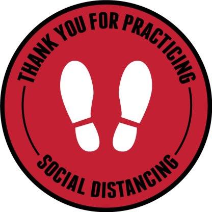 Footprint Social Distancing Floor Decals - Red