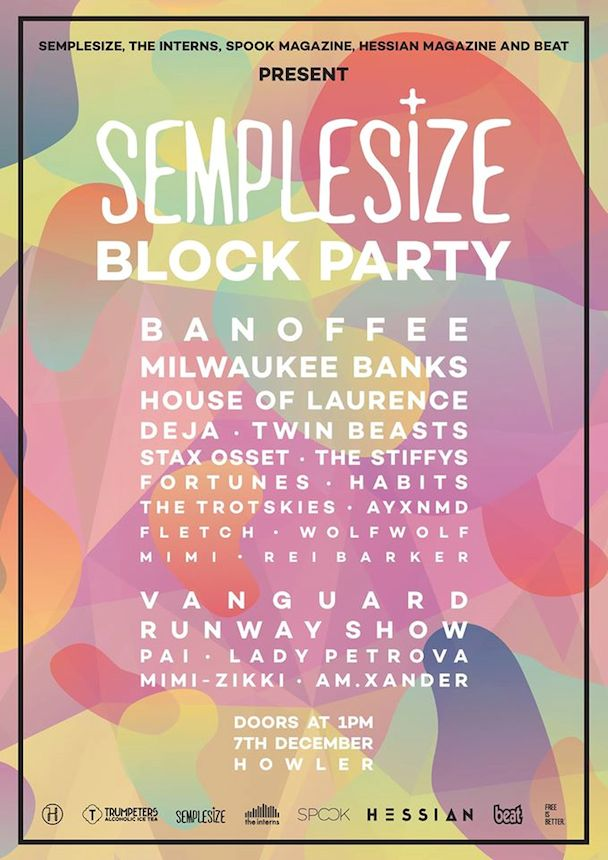 SEMPLESIZE Block Party - poster - acid stag