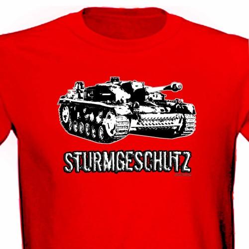 Stug III Sturmgeschutz Panzer Tank Ww2 Assault Gun Tee Shirt red.jpg