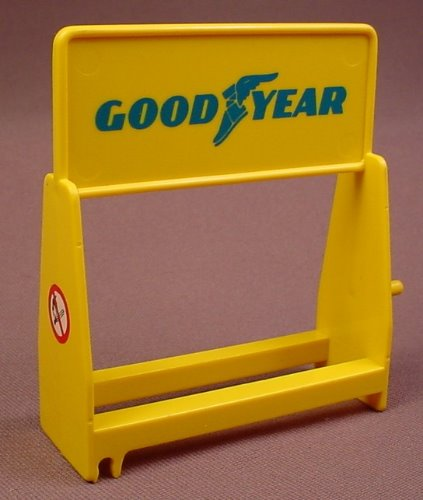 playmobil yellow tire rack with a blue goodyear logo on both sides 3738 30 64 3810