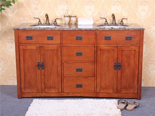 mission style wood double bath vanity