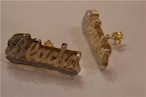 PERSONALIZED 14k GP Any DOUBLE Stud Name Earring M1 Nikfine
