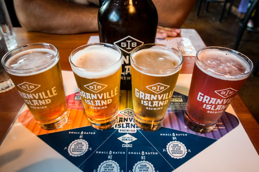 Beer flight at Granville Island Brewing Company