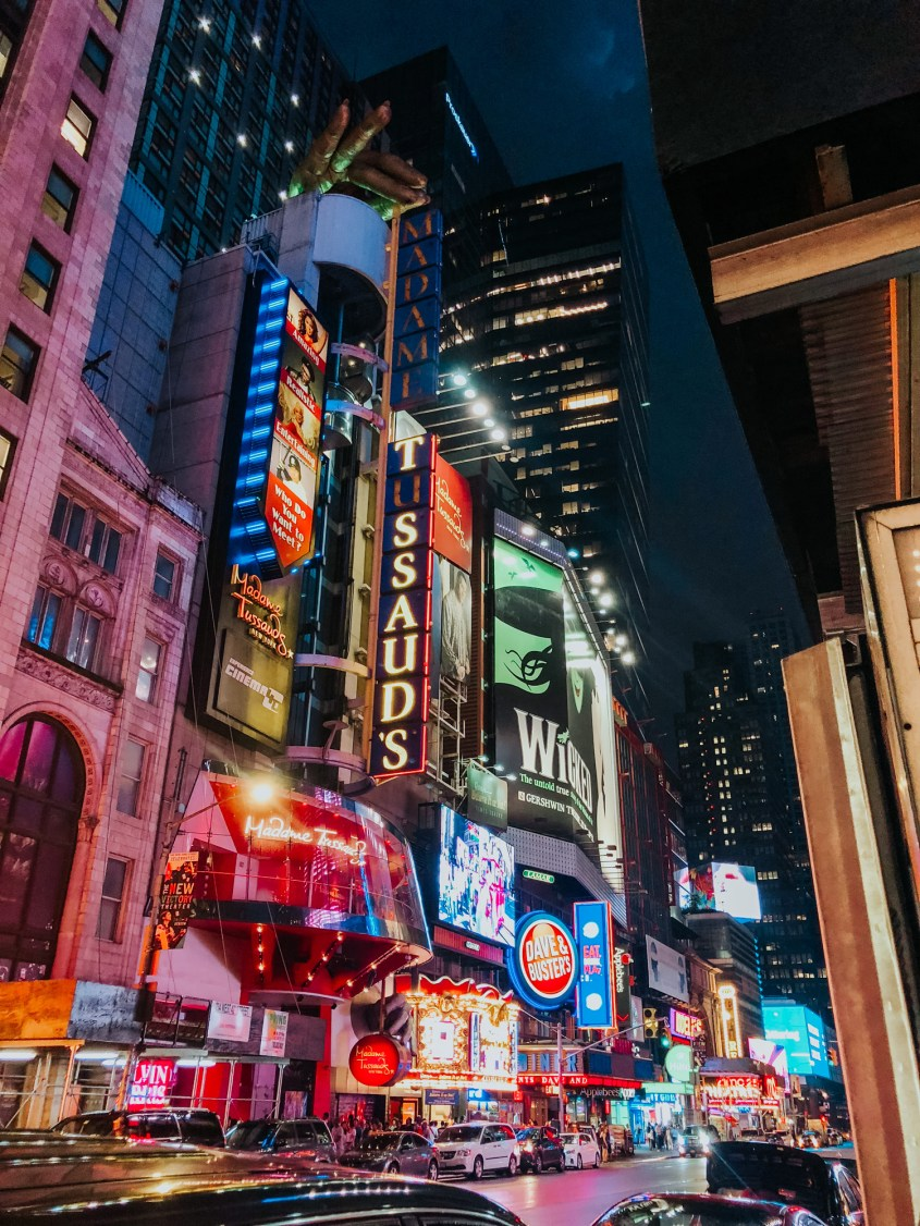 End your 4 days in New York by watching a Broadway show - Broadway at night
