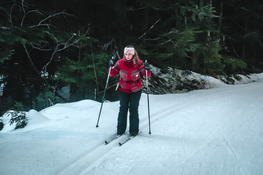 Cross Country Skiing in Lost Lake Park in Whistler