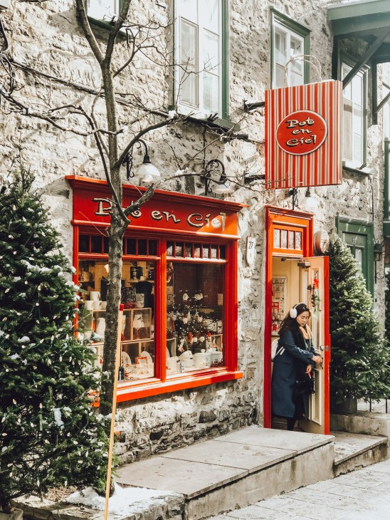 Rue de Petit Champlain is lined with local businesses selling items made exclusively in Quebec City