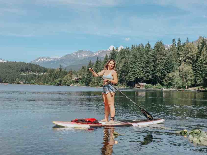 Paddleboarding on Alta Lake, Whistler
