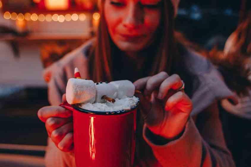 Enjoying a tipsy snowman seasonal drink at the Four Seasons Hotel, Whistler