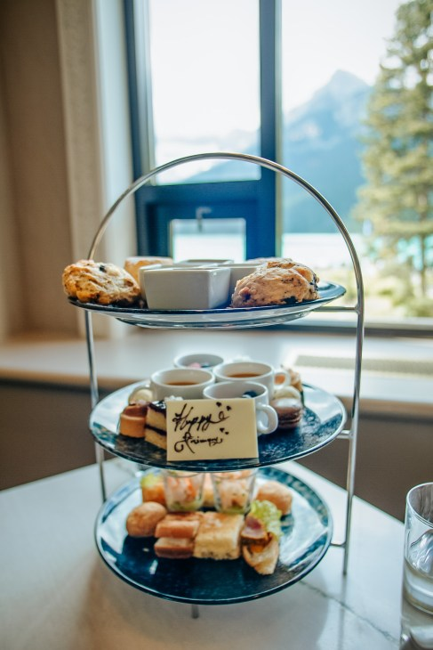 Afternoon tea tower at the Fairmont Chateau Lake Louise