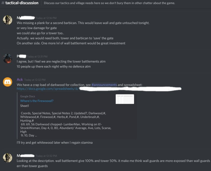 Grimmwood group on Discord, discussing upgrade tactics