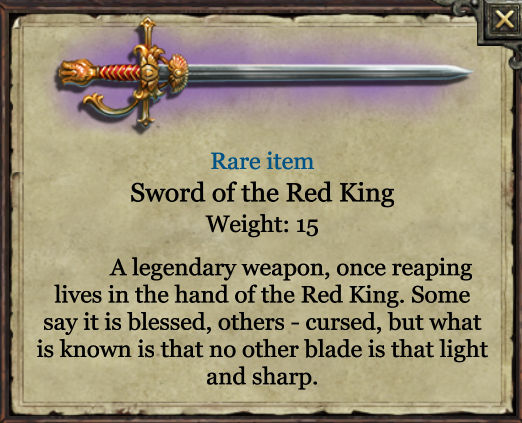 Grimmwood rare object - Sword of the Red King