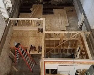 Elevator and stair shaft framing progress