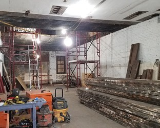 Structural infills at the 2nd floor - and historical timbers