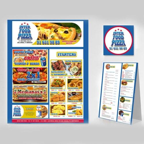 Diseño de identidad de marca y web de la pizzería Interfood