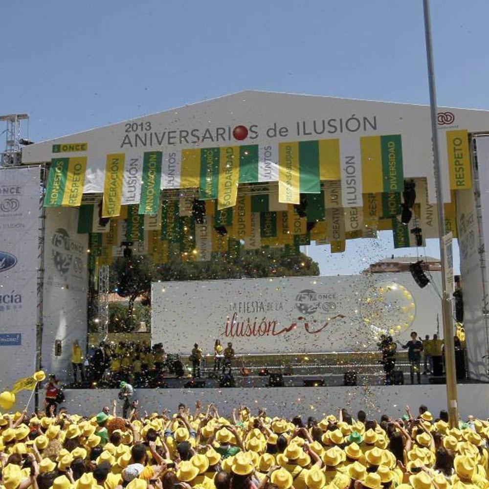 Organización del evento de la ONCE Aniversarios de la ilusión con la agencia Bassat&Ogilvy. Estudio Aclararte.