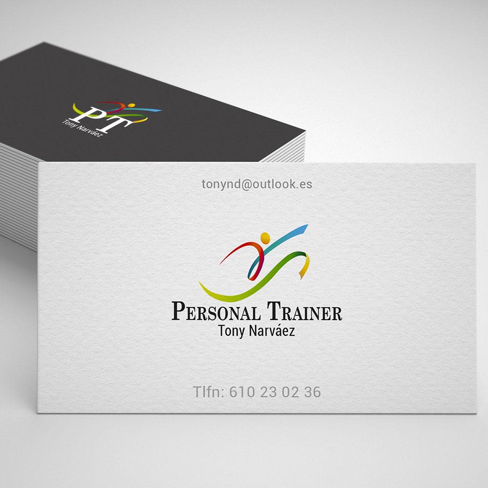 Diseño de logotipo y tarjeta comercial para personal trainer. Aclararte.