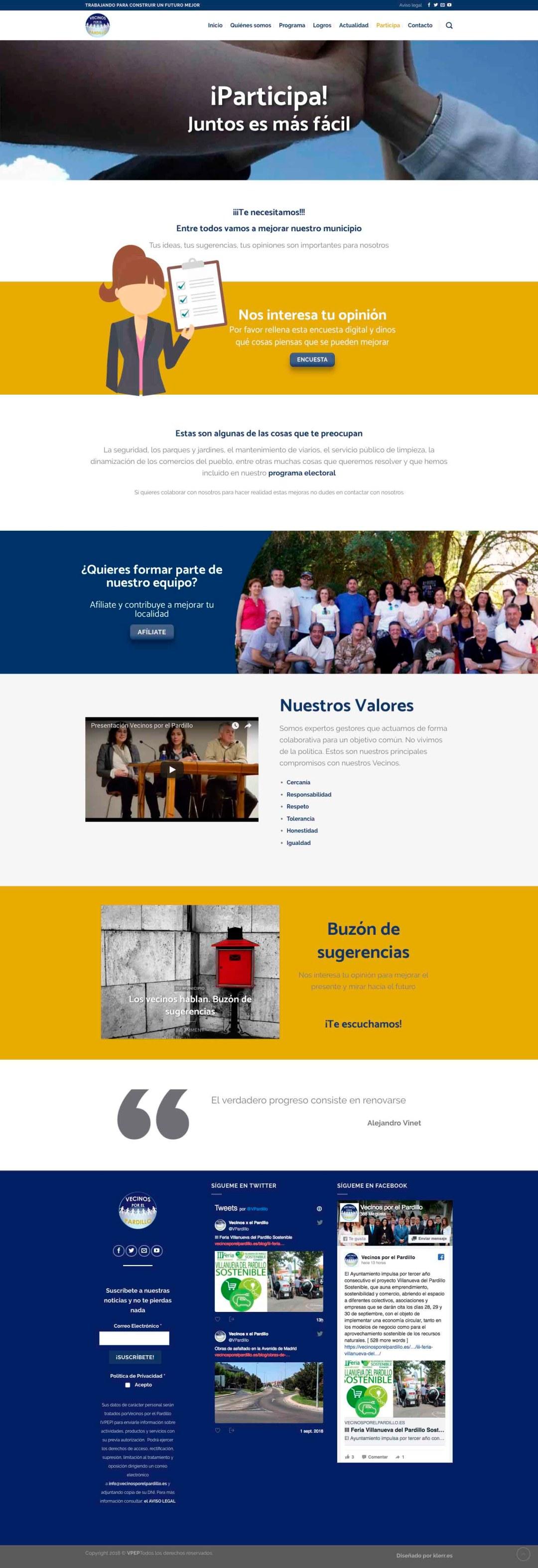 Vecinos por el Pardillo portafolio aclararte diseño web