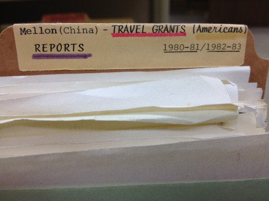 NEH travel grant label, materials created 1980-1983