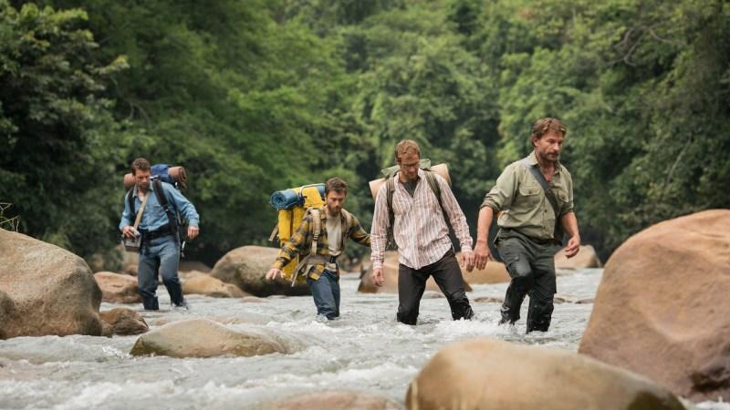 Alex Russell (Kevin), Daniel Radcliffe (Yossi), Joel Jackson (Marcus) and Thomas Kretschmann (Karl) in 'Jungle' - DOP Stefan Duscio