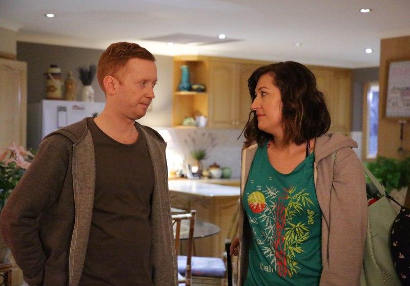 Daniel (Luke McGregor) and Emma (Celia Pacquola) in a scene from 'Rosehaven' - DOP Murray Lui