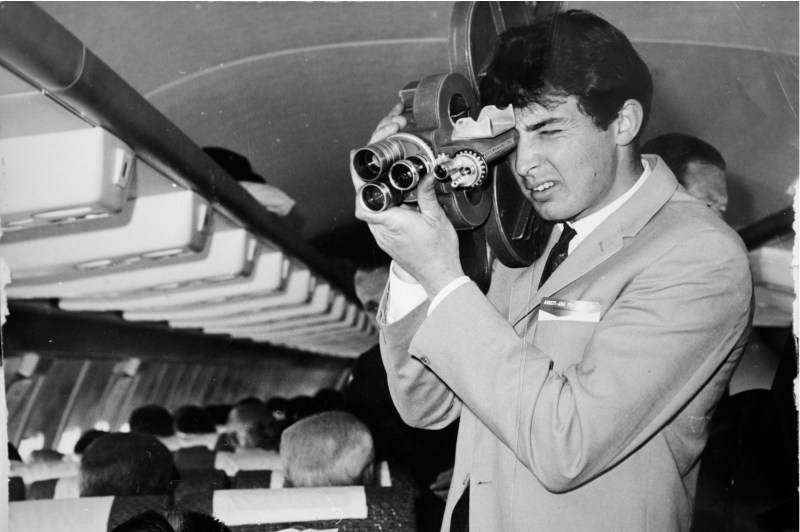 Dean Semler AM ACS ASC in 1964, then an Adelaide news camerman shooting a story aboard the first Ansett Airlines jet to fly to Adelaide - PHOTO Courtesy Ron Windon ACS