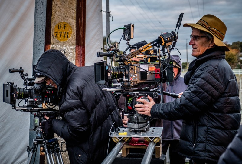 Andrew Condor ACS SOC on B-Camera (L) with Cinematographer Mark Wareham ACS operating on 'Wanted' - PHOTO Simon Woods