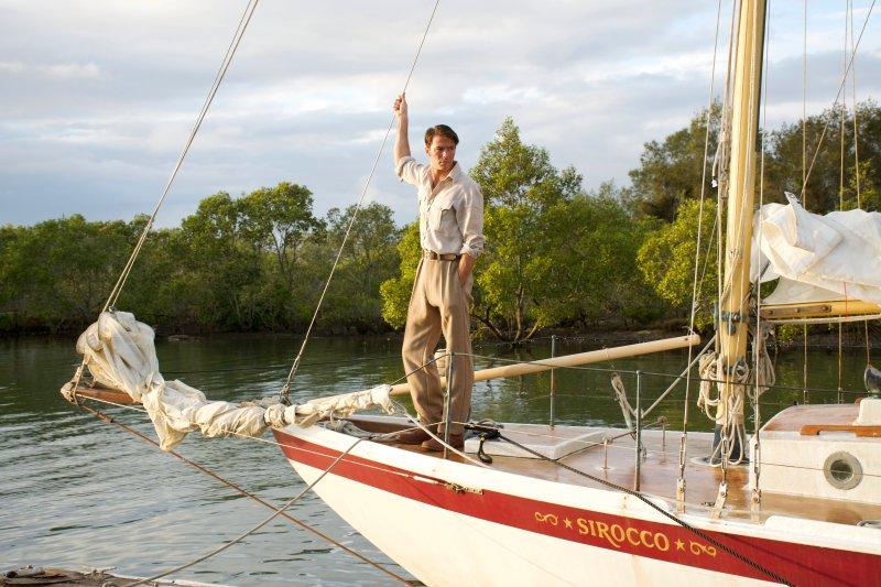 Thomas Cocquerel as Errol Flynn on the forward deck of the Sirroco, filming 'In Like Flynn' on the Gold Coast - PHOTO Supplied