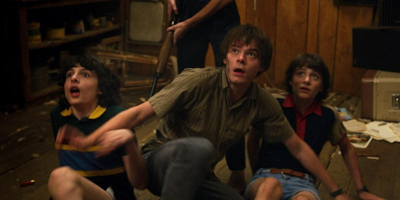 Mike (Finn Worlfhard), Johnathan (Charlie Heaton) and Will (Noah Schnapp) in the third season of Netflix's 'Stranger Things' - DOP Lachlan Milne ACS