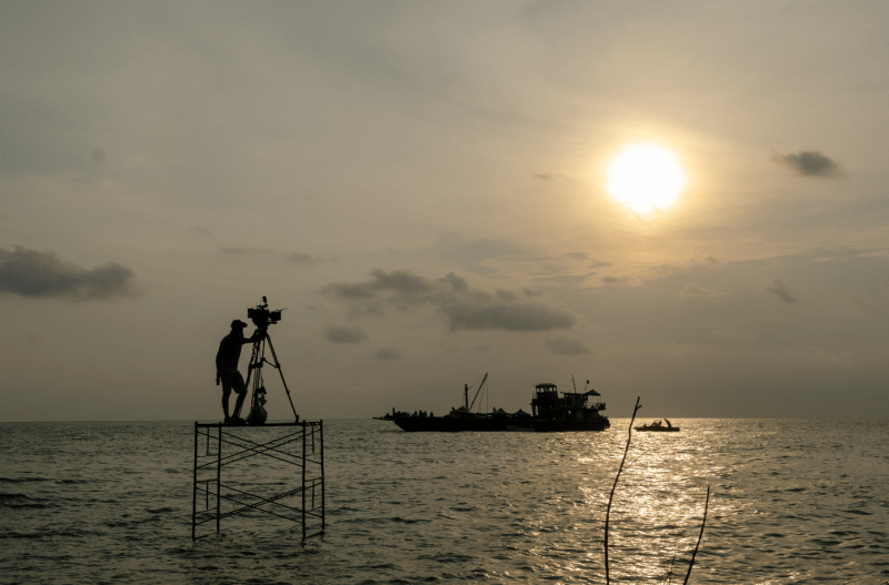 Cinematographer Michael Latham shooting 'Buoyancy' on location - PHOTO Rafael Winer