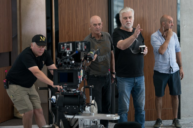 Dolly grip Dave Shaw,A-camera operator and SteadicamGeoff Owen,cinematographer Henry Pierce ACS and gafferSteffie Fidirikkos- PHOTOBrookRushton