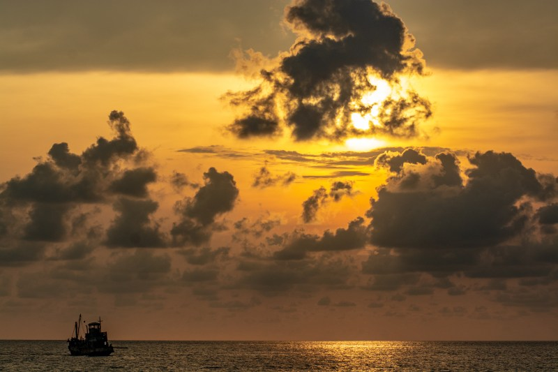 The trawler at sunset in a scene from the film 'Buoyancy' - DOP Michael Latham, PHOTO Rafael Winer