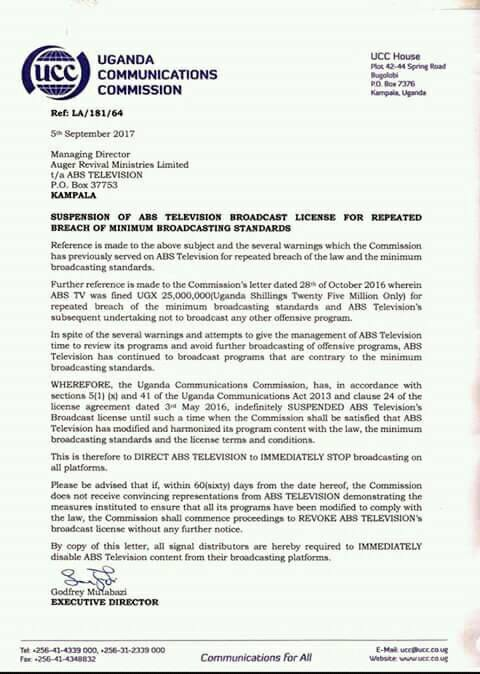 UCC's letter to ABS TV