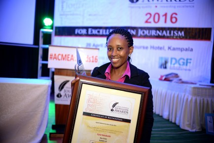 Carol Natukunda of New Vision wins second place in the Nile Breweries Exceptional Journalist of the Year Award