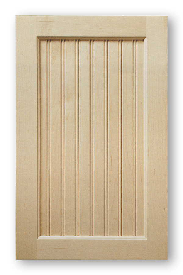 Beadboard kitchen cabinet door style is a variation of the Shaker style with beadboard style wood insert.