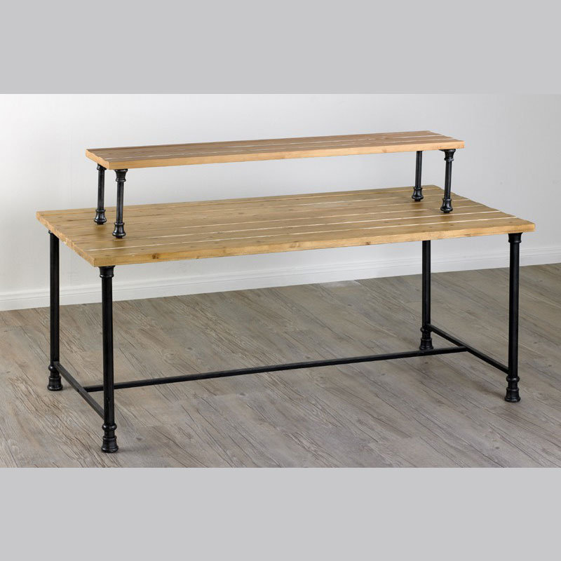 table riser distressed pine
