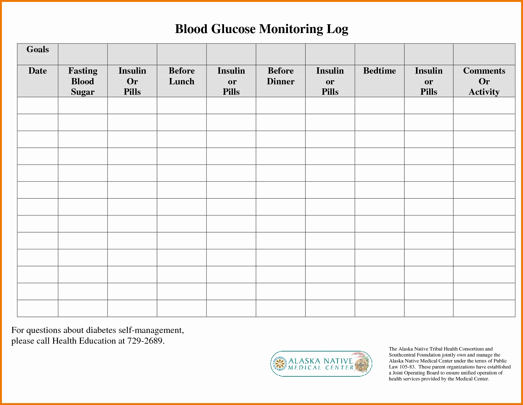 Blood Glucose Chart Printable