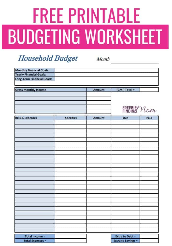 Free Budget Worksheet Printable
