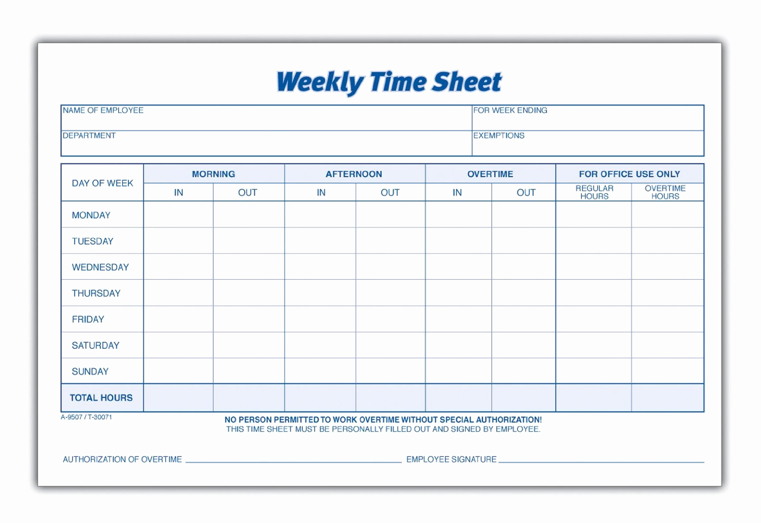 Free Printable Employee Timesheet