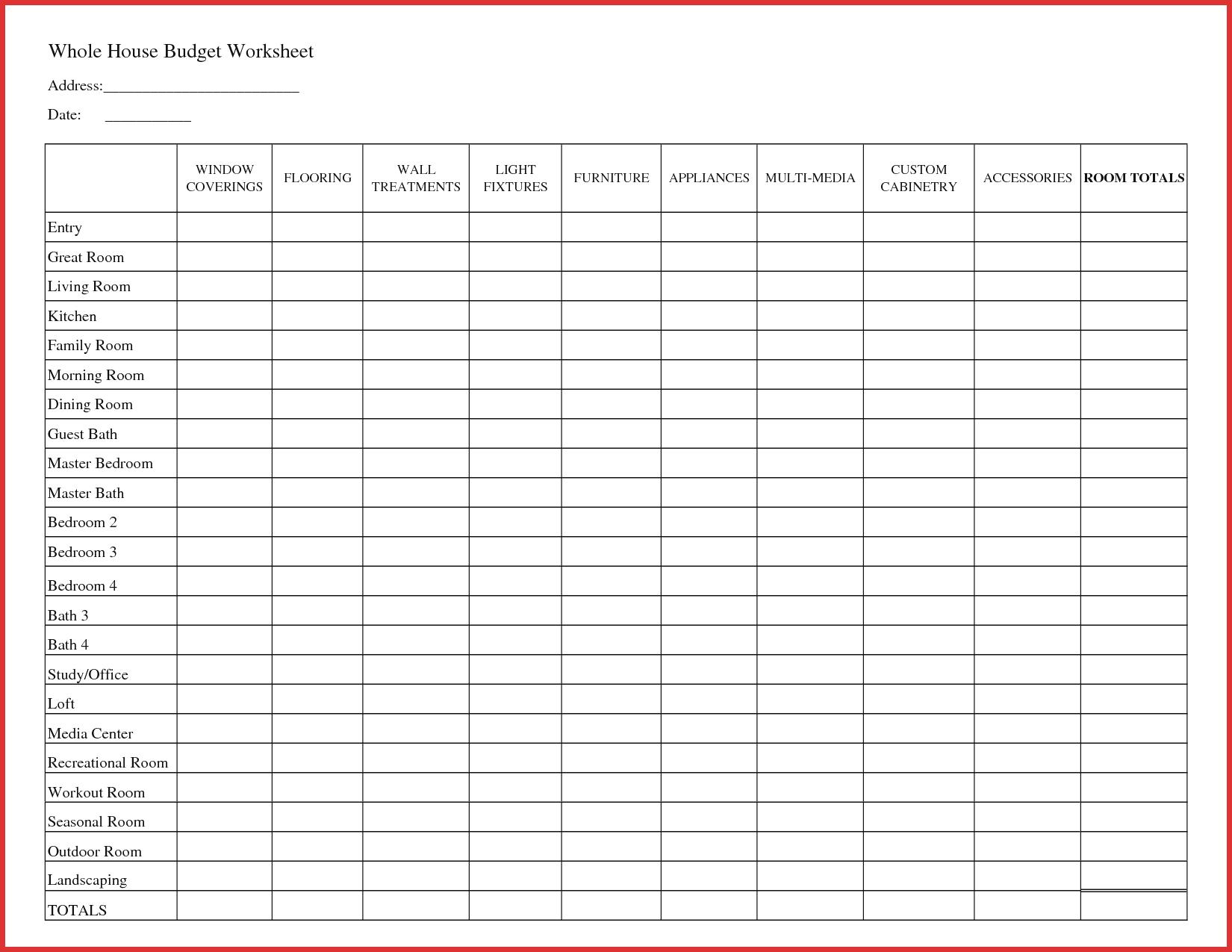 Home Budget Forms Free Printable