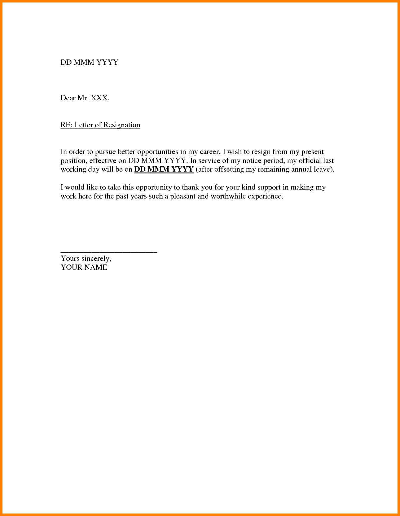 Printable Resignation Letters