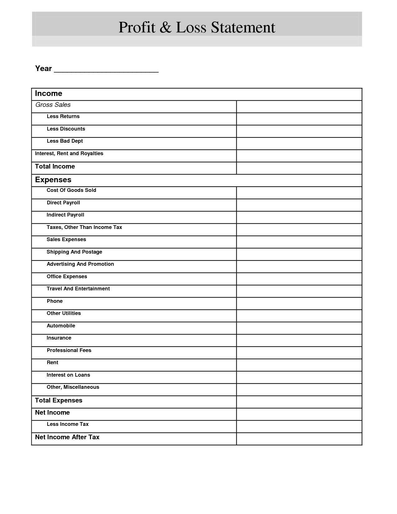 Profit And Loss Printable Form