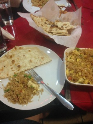 Egg fried rice and naan at Embassy, an Indian place (with some Chinese food) at Riverwalk