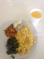 Rice, spinach, chakalaka, potatoes, and concentrated juice.