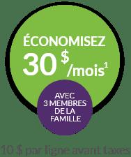 Economisez 30$ a month avec 3 membres de la famille
