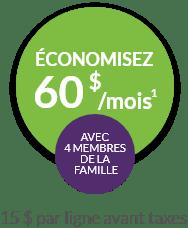 Economisez 60$ a month avec 4 membres de la famille