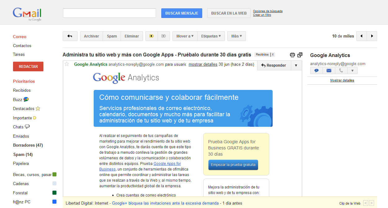 Interfaz Gmail
